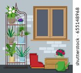 back yard with various indoor... | Shutterstock .eps vector #655148968