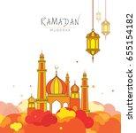 ramadan kareem template design... | Shutterstock .eps vector #655154182