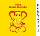 creative ganesha chaturthi or... | Shutterstock .eps vector #655155172