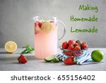 glass jug of refreshing drink... | Shutterstock . vector #655156402