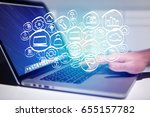 view of a technology hand drawn ... | Shutterstock . vector #655157782