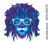 ornament face of lion hipster... | Shutterstock .eps vector #655159072