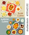 austrian and swiss cuisine... | Shutterstock .eps vector #655162132