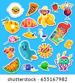 set of funny bright summer... | Shutterstock .eps vector #655167982