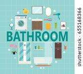 set modern bathroom interior.... | Shutterstock .eps vector #655168366