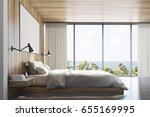side view of a light wooden... | Shutterstock . vector #655169995