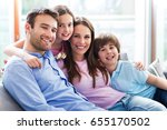 happy family at home  | Shutterstock . vector #655170502