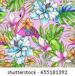 seamless tropical pattern with... | Shutterstock . vector #655181392