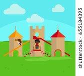 children on playground in the... | Shutterstock . vector #655184395