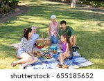 happy family having picnic in... | Shutterstock . vector #655185652