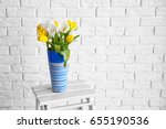 vase with beautiful white and... | Shutterstock . vector #655190536