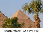 palm trees in front of pyramids ... | Shutterstock . vector #655191442