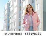 portrait of fashion blogger... | Shutterstock . vector #655198192