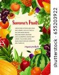 fruits vector poster of summer... | Shutterstock .eps vector #655203922