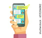 chatting with chatbot on phone  ... | Shutterstock . vector #655206082