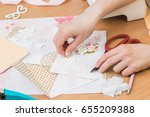 scrapbooking for wedding or... | Shutterstock . vector #655209388