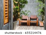 wooden chair in vintage house... | Shutterstock . vector #655214476