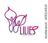 elegant lilies line logo... | Shutterstock . vector #655214515