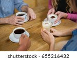 friends having coffee at table... | Shutterstock . vector #655216432