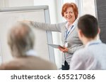 lecturer gives business lecture ... | Shutterstock . vector #655217086