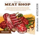 meat shop poster of butchery... | Shutterstock .eps vector #655218208