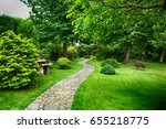 very nice green park in the... | Shutterstock . vector #655218775