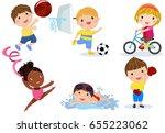 group of sport children... | Shutterstock .eps vector #655223062