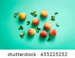 fresh peaches on turquoise... | Shutterstock . vector #655225252
