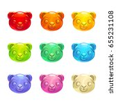 cute jelly bears faces. vector... | Shutterstock .eps vector #655231108