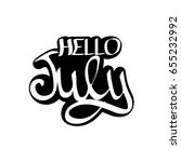 hello july  isolated sticker ... | Shutterstock .eps vector #655232992