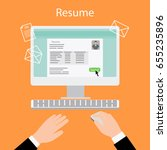 writing a resume on computer.... | Shutterstock . vector #655235896