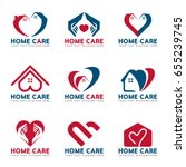 red and blue home heart and... | Shutterstock .eps vector #655239745