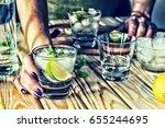 a young girl is preparing an... | Shutterstock . vector #655244695