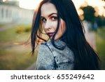 beauty woman outdoor mood... | Shutterstock . vector #655249642