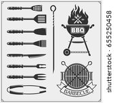 bbq set. steak icons  bbq tools ... | Shutterstock .eps vector #655250458
