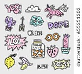 vector patch set   80s 90s... | Shutterstock .eps vector #655251202