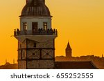 maiden's tower and galata tower ... | Shutterstock . vector #655252555
