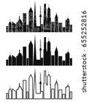black cityscape icons set | Shutterstock .eps vector #655252816