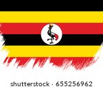 flag of uganda  brush stroke...   Shutterstock .eps vector #655256962