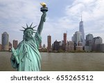 skyline of manhattan with... | Shutterstock . vector #655265512