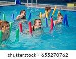 fitness group of girls doing... | Shutterstock . vector #655270762