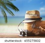 vintage suitcase  hipster hat ... | Shutterstock . vector #655275832