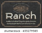 vintage textured font named ... | Shutterstock .eps vector #655279585