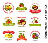 exotic fruits icons for farm... | Shutterstock .eps vector #655285765