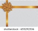 gold ribbon on transparent...   Shutterstock .eps vector #655292536