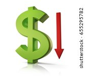 dollar going down 3d... | Shutterstock . vector #655295782