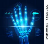 hand x ray with technological... | Shutterstock .eps vector #655312522