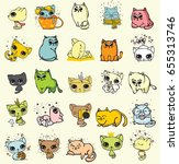 set of cute doodle cats  for... | Shutterstock .eps vector #655313746