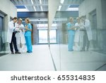 medical team discussing over... | Shutterstock . vector #655314835
