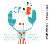 mr. crab  template with cute... | Shutterstock .eps vector #655319566
